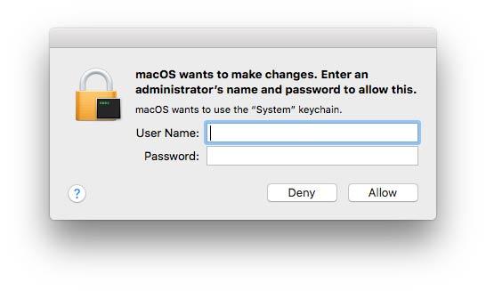 Έλεγχος ταυτότητας Mac