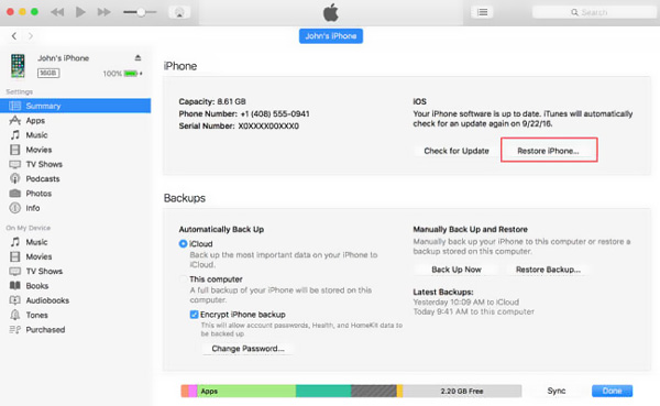 Formatta iPhone con iTunes