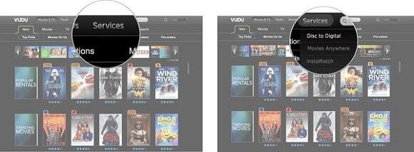 Δίσκος Vudu σε ψηφιακές ταινίες στο Διαδίκτυο