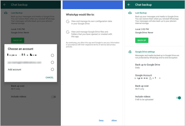 Backup delle chat di WhatsApp Android su Google Drive