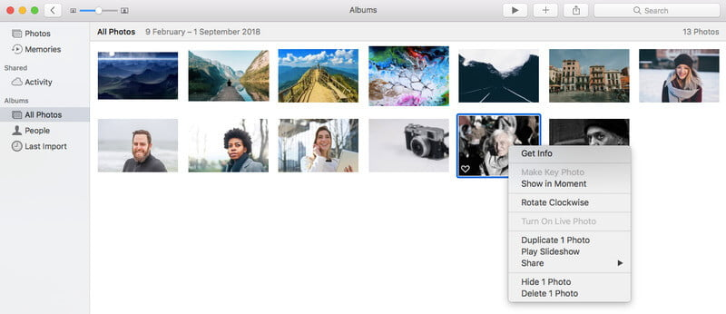 Skrýt fotografie v systému Mac