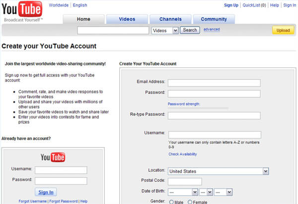 Crea un nuovo account YouTube