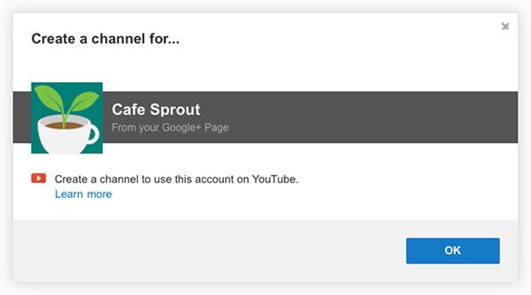 Crea un account YouTube Google+