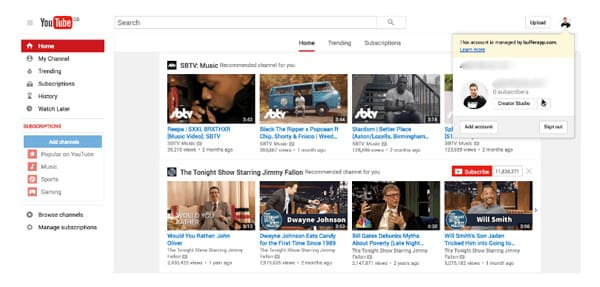 Crea un account YouTube Gmail