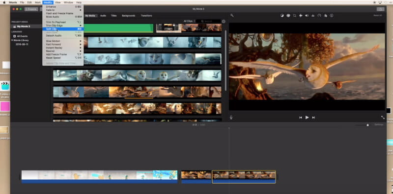 Split video in imovie