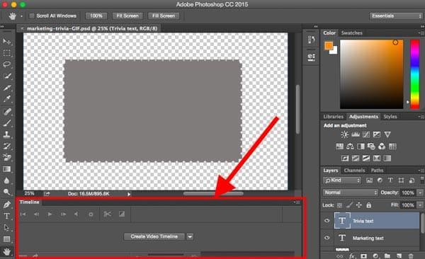 Uruchom panel osi czasu dla GIF