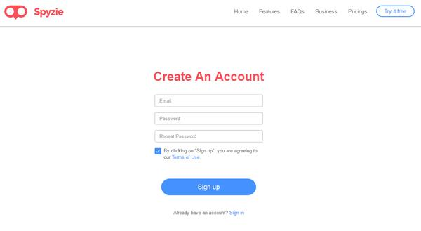 Crea un account con Spyzie