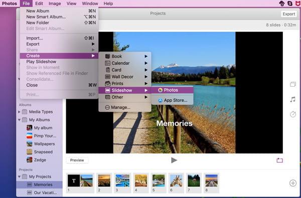 Δημιουργία παρουσίασης διαφανειών σε Mac σε φωτογραφίες