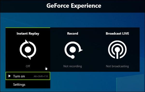 Avvia la registrazione dell'esperienza Geforce