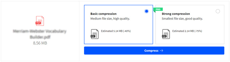 Vyberte základní kompresi