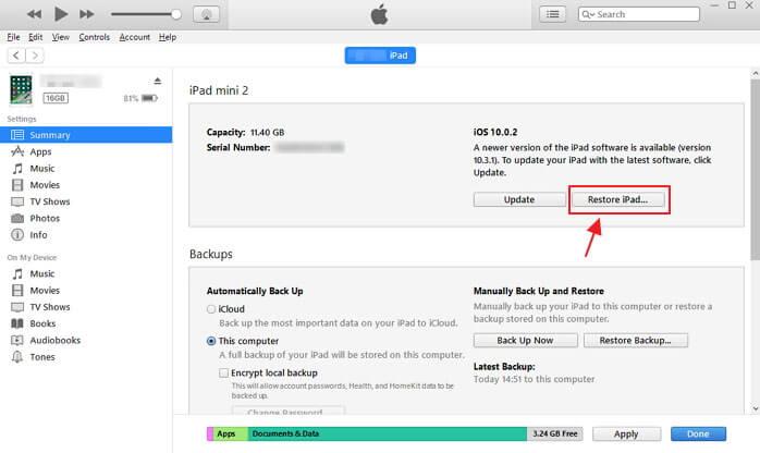 Obnovit iPad