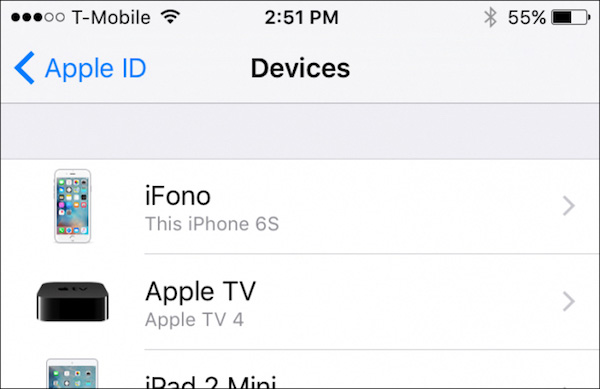 Rimuovi il dispositivo iPhone da icloud