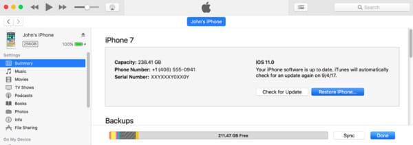Κατάργηση κωδικού πρόσβασης iPhone με επαναφορά iTunes