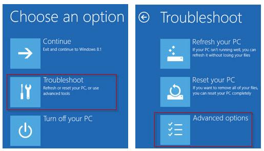 Προηγμένες επιλογές των Windows 10