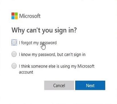Επιλέξτε Ξεχάσατε τον κωδικό πρόσβασης