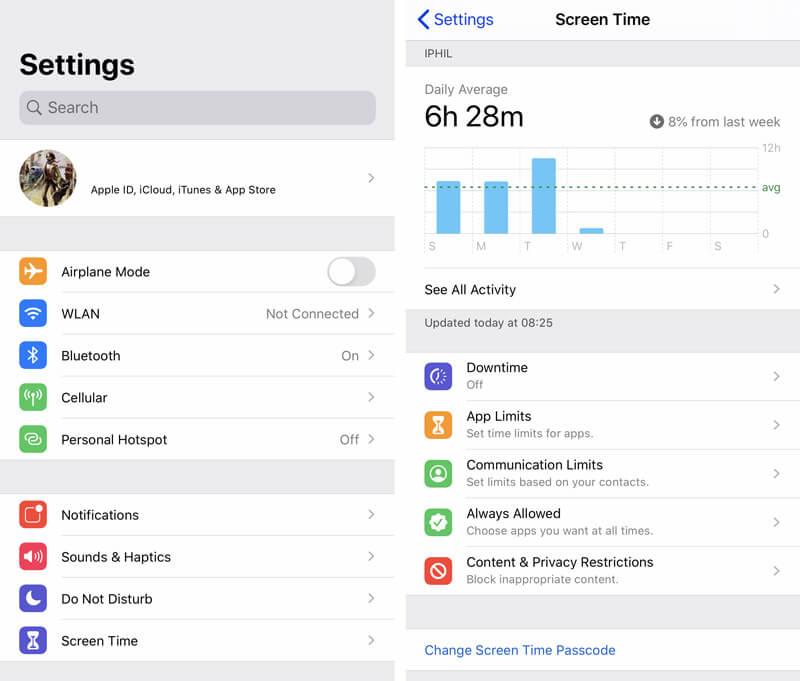 Αλλαγή κωδικού πρόσβασης χρόνου οθόνης στο iPhone