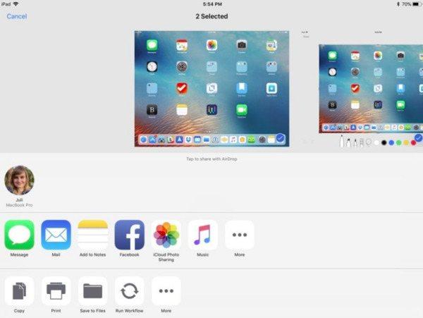 Udostępnij zrzut ekranu na iPadzie