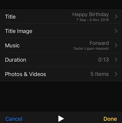 Edit slideshow on iPhone