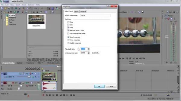 Applica l'effetto slow motion di sony vegas riproducendo il frame rate