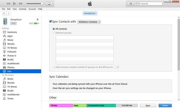 Transfer Contact via iTunes