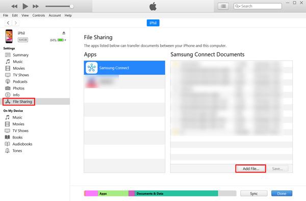 Sdílení souborů iTunes