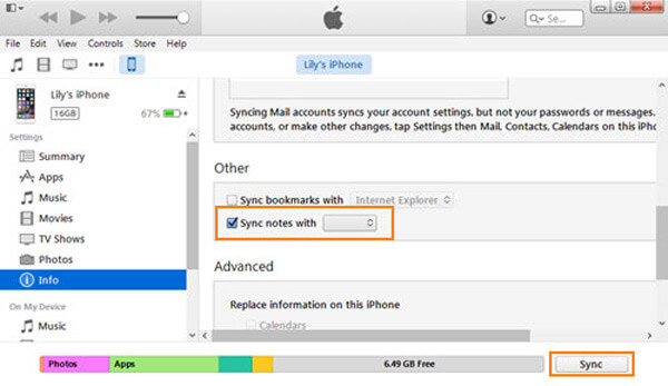 iTunes Outlook Sync