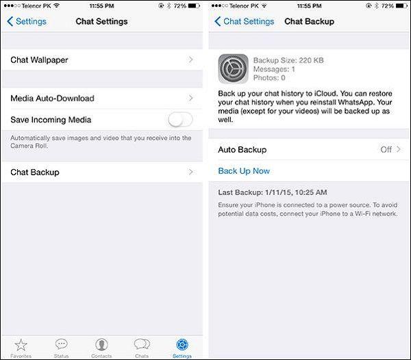 backup whatsapp ios para android
