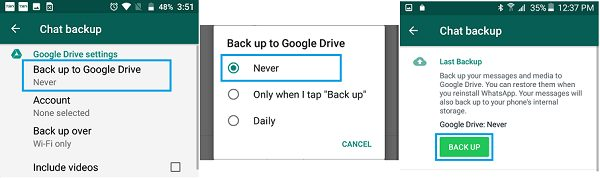 Backup WhatsApp Chats to Google Drive Android Phone