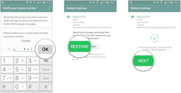 Restore WhatsApp Google