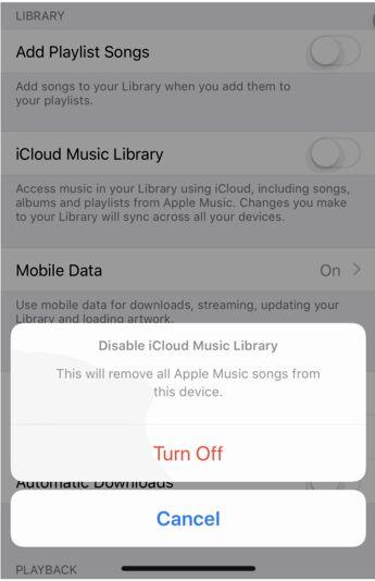Disattiva la libreria musicale iCloud