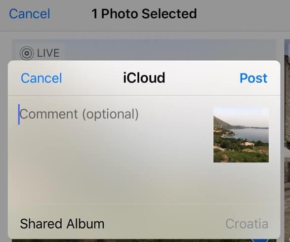Μοιραστείτε φωτογραφίες στο icloud