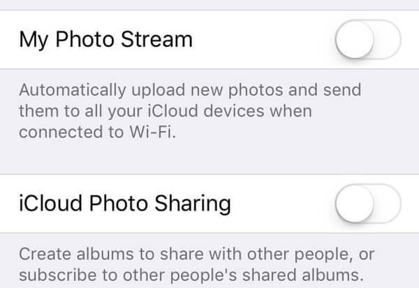 Απενεργοποιήστε την κοινή χρήση φωτογραφιών iCloud