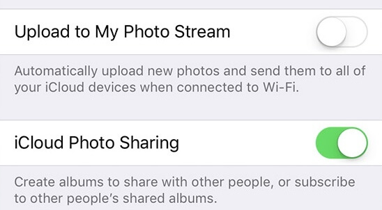 Turn on iCloud photo sharing