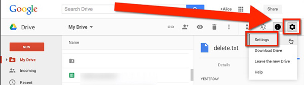 Ρυθμίσεις του Google Drive