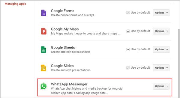 Δείτε το Old WhatsApp Backup στο Google Drive