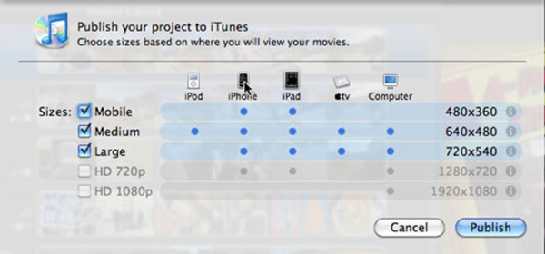 Export iMovie iTunes