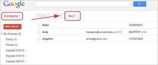 Controlla i contatti di Gmail