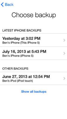 Scegli il backup di iCloud