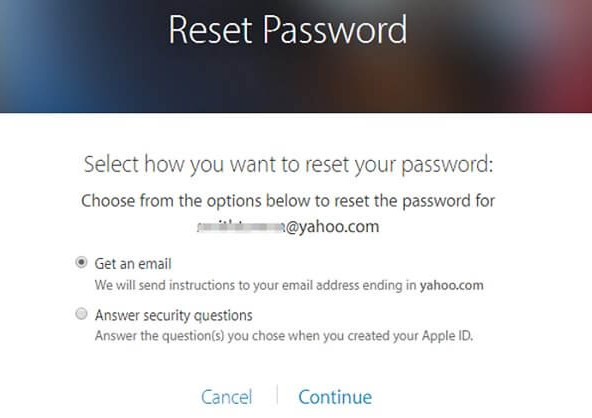 Reimposta la password ID Apple online