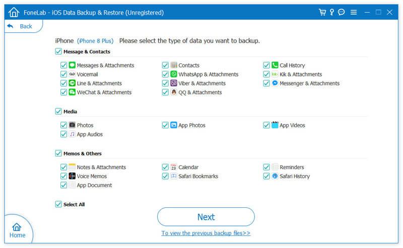 Επιλέξτε Δεδομένα για δημιουργία αντιγράφων ασφαλείας