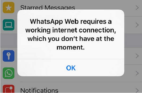 WhatsApp Internet connectivity problems