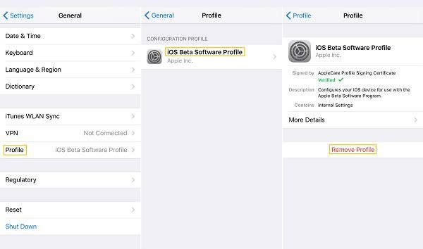 Διαγραφή προφίλ beta iOS 14/13