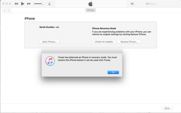 Recovery Mode Message from iTunes