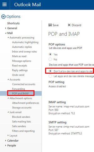 Risolvi conflitti POP3 e IMAP