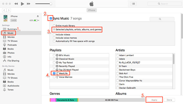 Aggiungi playlist a iPhone con iTunes
