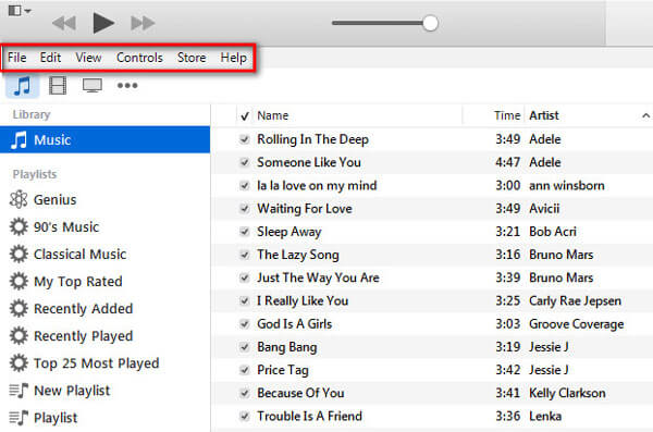 Η γραμμή του iTunes