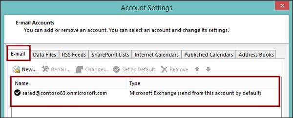 Controlla l'account di Exchange di Outlook