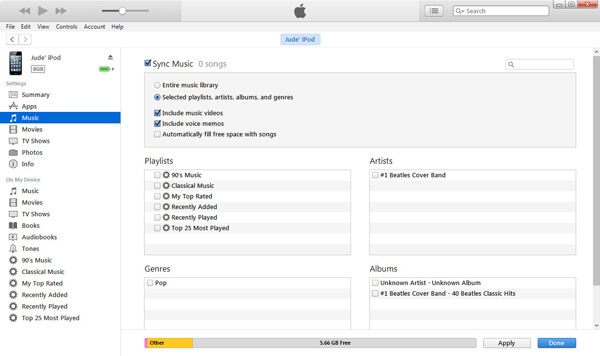 Choose iTunes Music to Sync to iPod