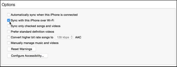 Wybierz opcję Synchronizuj z Wi-Fi