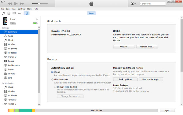 Fai clic sull'icona di iPod